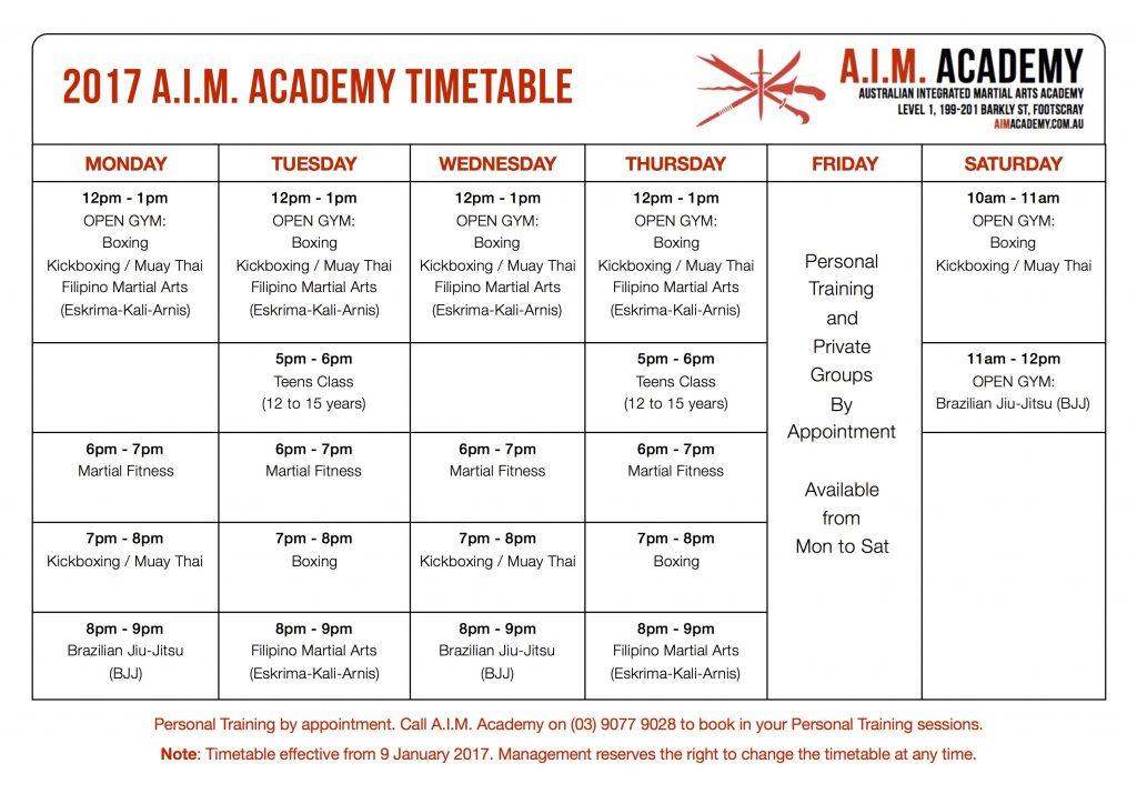 A.I.M. Academy Timetable | Martial Arts Melbourne