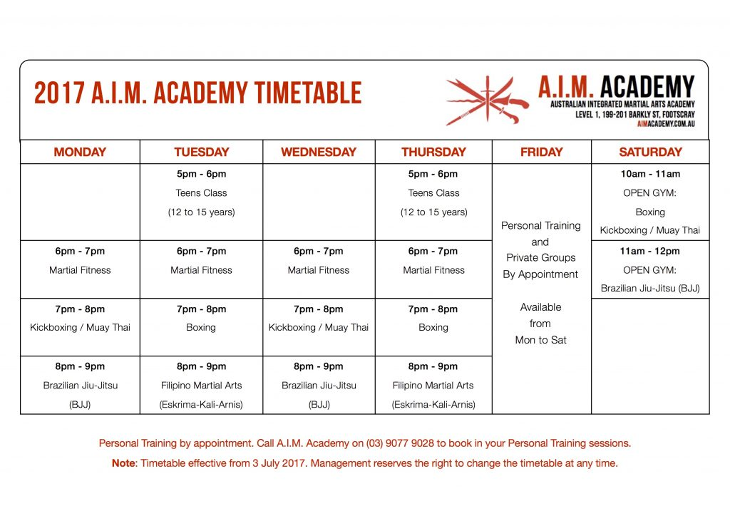 Martial Arts Melbourne | A.I.M. Academy Timetable