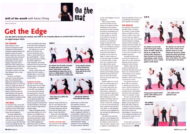 Blitz Martial Arts Magazine Drill of the Month by Kacey Chong