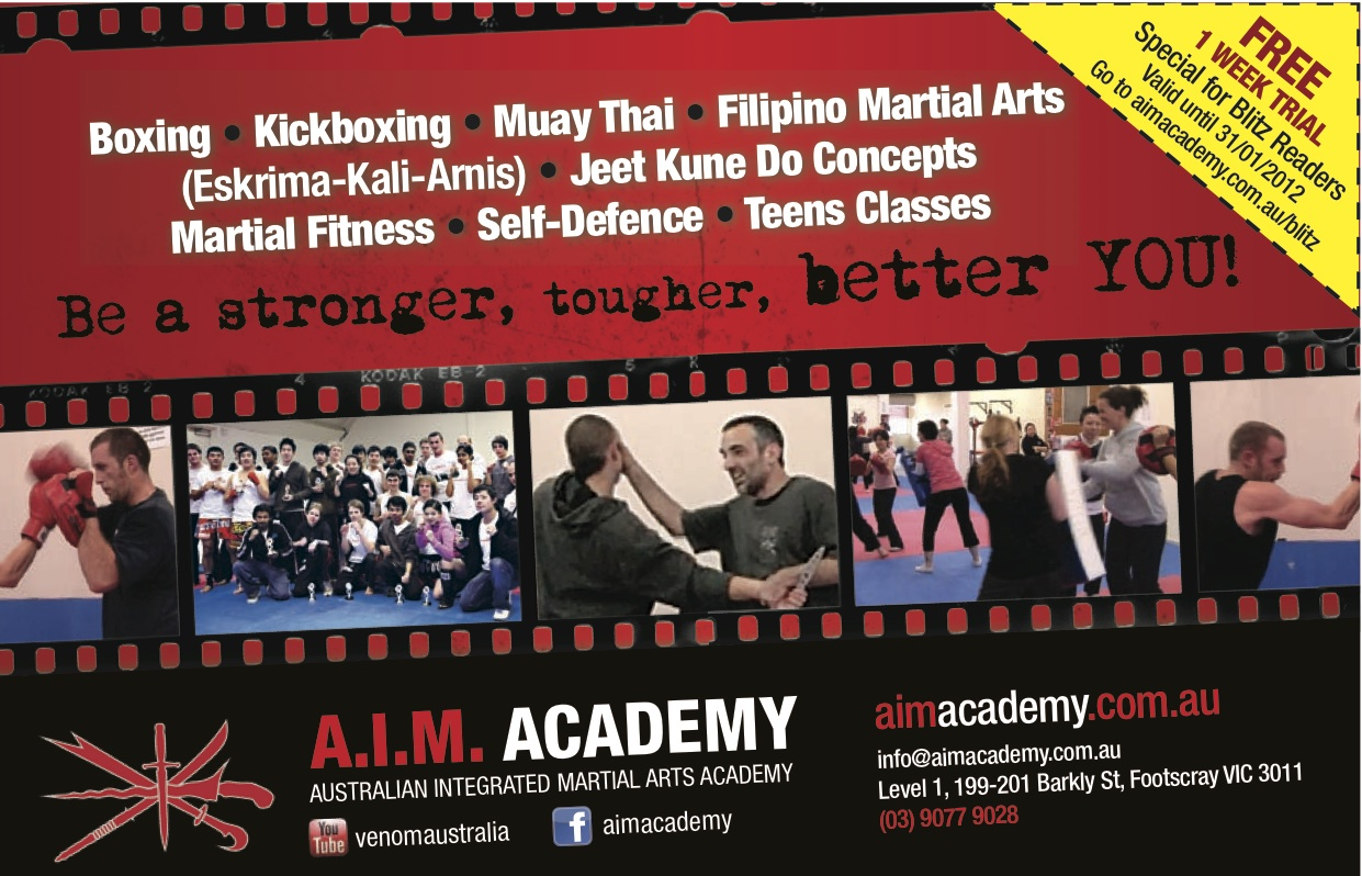 A.I.M. Academy - Blitz Martial Arts Magazine - Special Offer