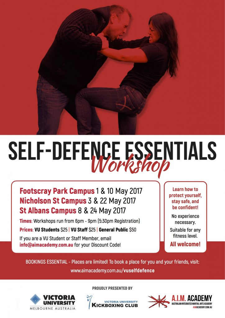 Self-Defence Workshop   Victoria University   Poster