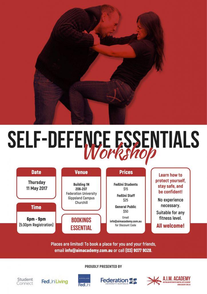 Self-Defence Workshop | Federation University | Gippsland | Poster